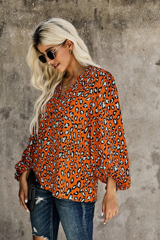 Leopard Balloon Sleeve Blouse