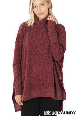 Cozy Cowl Neck Sweater- Dark Burgundy