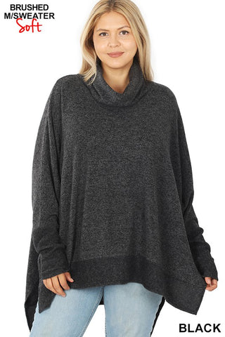 Cozy Cowl Neck Sweater- Black