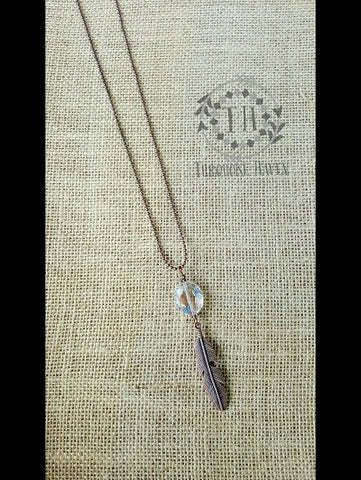 Necklace with Crystal & Feather