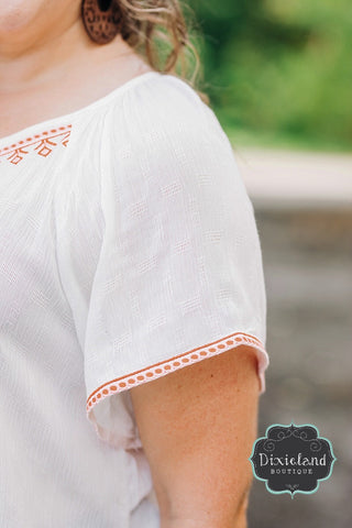 {Plus} White Embroidered Peasant Blouse