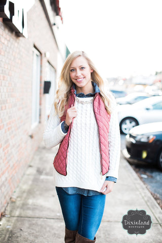 Dusty Mauve Quilted Vest