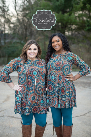 Teal Mandala Tunic Dress