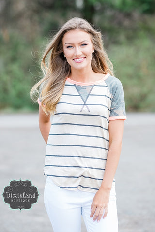 Pop of Coral Striped Tee