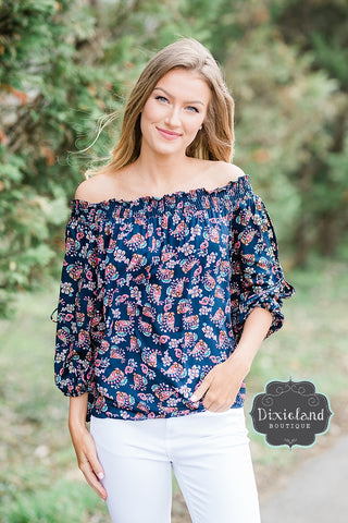 Navy Paisley Off Shoulder Top