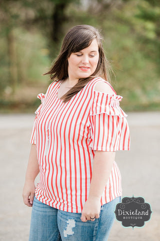 {Plus} Red & White Cold Shoulder Top