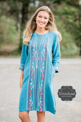 Steel Blue Embroidered Dress