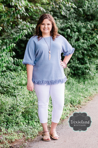 Dusty Blue Fringe Top