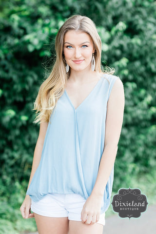 Dusty Blue Surplice Blouse