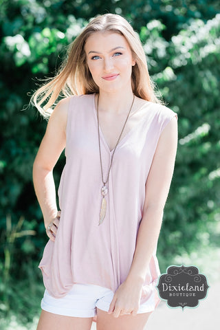 Dusty Mauve Surplice Blouse