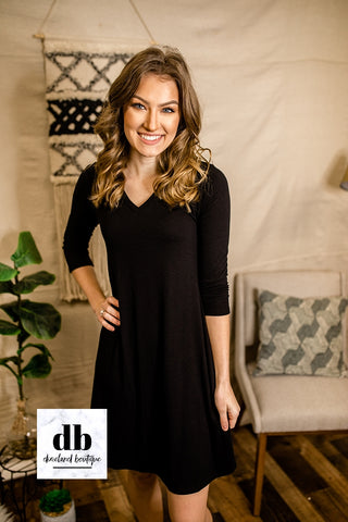 Black T-shirt Dress with 3/4 Sleeves
