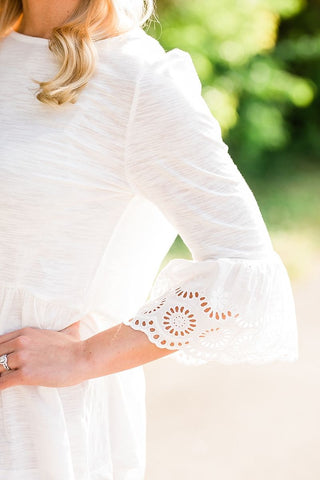 White Cotton Bell Sleeve Top