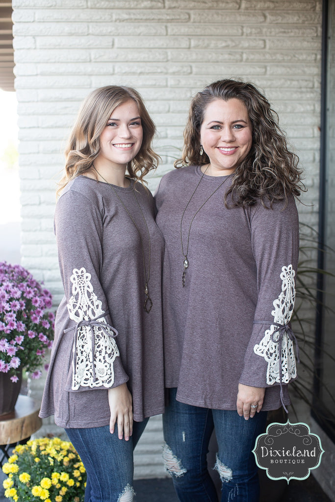 Mocha Top with Crochet Sleeves