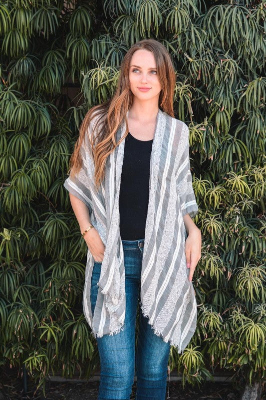 Gray and Ivory Striped Kimono