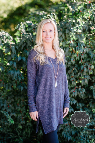Charcoal Cozy V-Neck Tunic