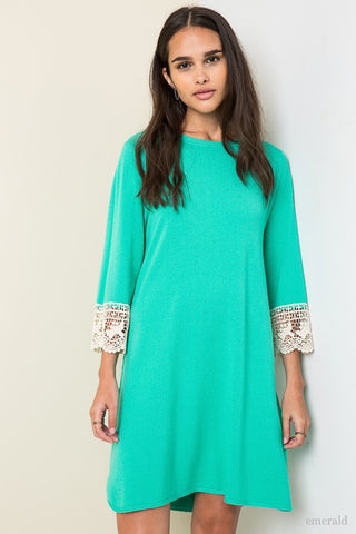 Sea Green Tunic with Crochet Trim