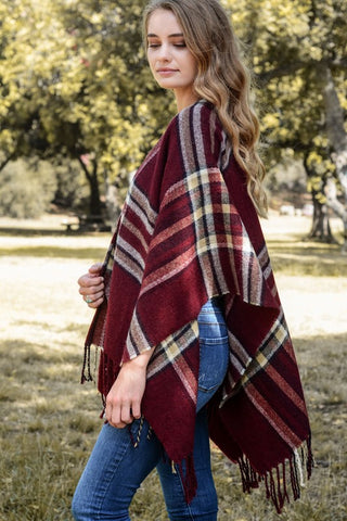 Red Plaid Ruana Shawl