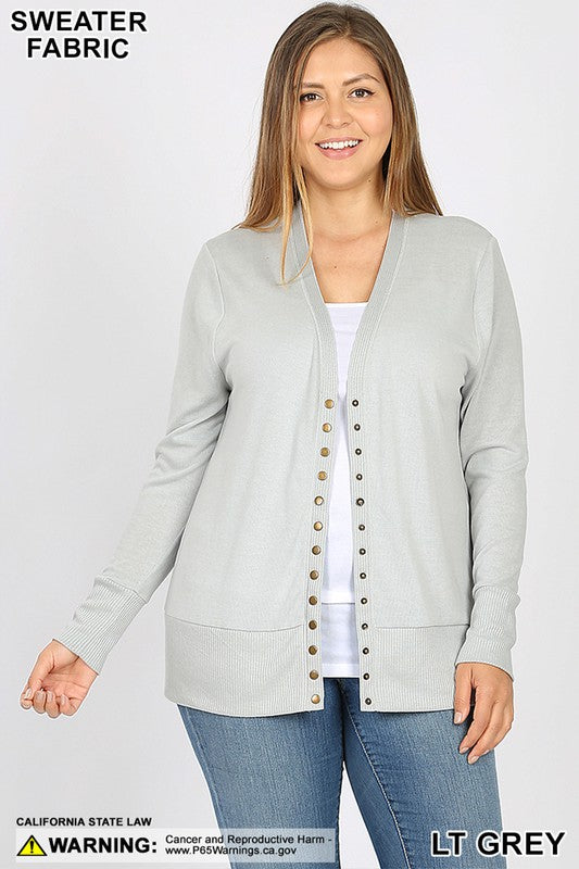 Light Gray Snap Cardigan