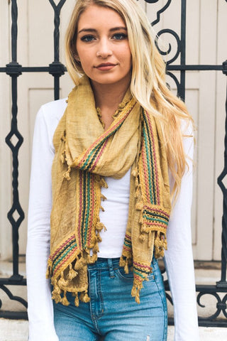 Mustard Boho Embroidered Scarf