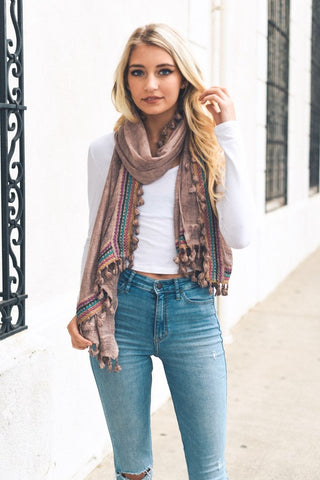 Dusty Rose Boho Embroidered Scarf