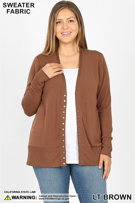 Light Brown Snap Cardigan