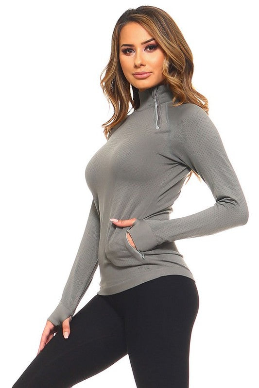 Charcoal Active Zippered Top
