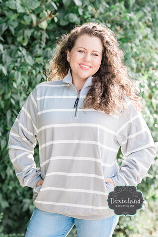 Charles River Gray Striped Rugby Pullover