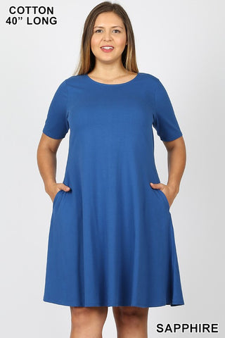 Sapphire Cotton Blend T-shirt Dress
