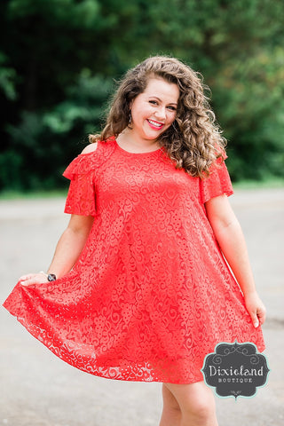{Plus} Lady in Red Lace Dress