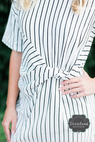White & Black Striped Twist Front Dress