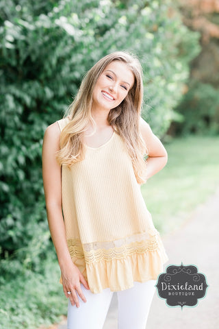 Soft Yellow Lace Tank