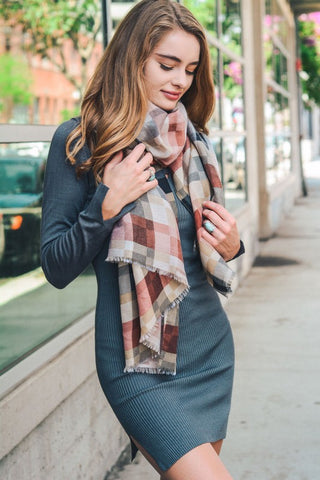 Pink Plaid Scarf
