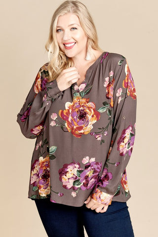 Slate Floral Blouse