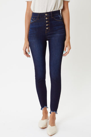 Kan Can Frayed Hem Button Fly Jeans