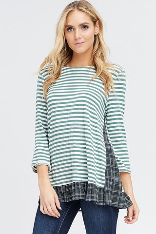 Green & Cream Striped Top With Plaid