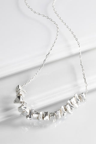 Short Abstract Silver Necklace