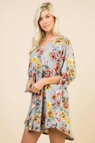 Gray Floral Tunic Dress