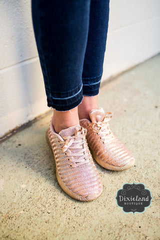 Rose Gold Metallic Sneakers