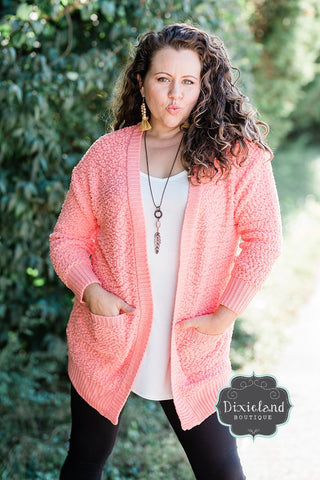 Coral Popcorn Sweater Cardigan