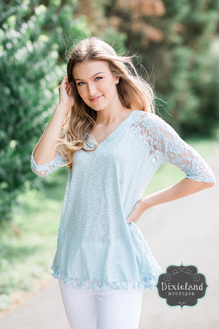 Light Blue Tassel Top