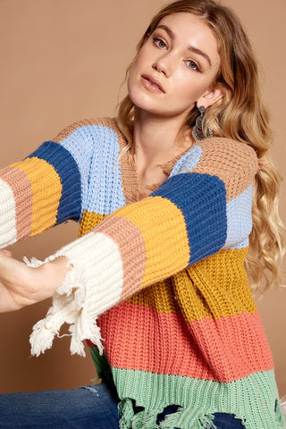 Colorblock Fringed Sweater
