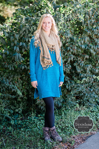 Teal Cozy V-Neck Tunic