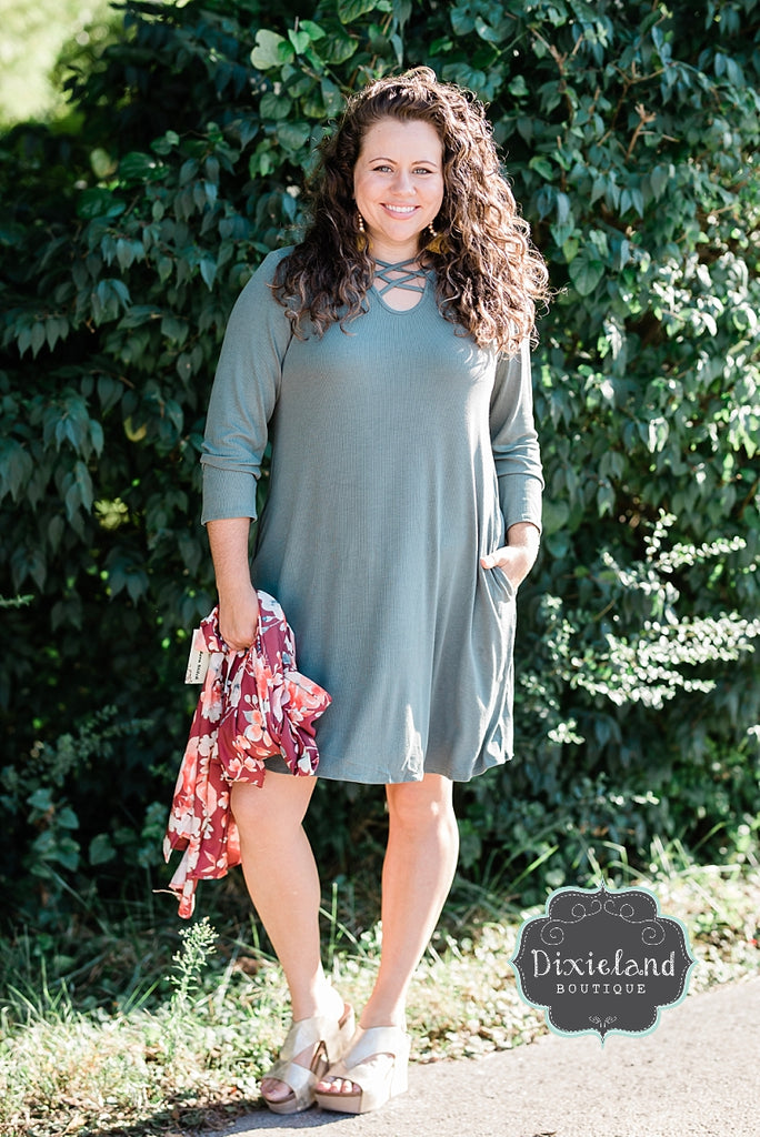 Sage Ribbed Dress