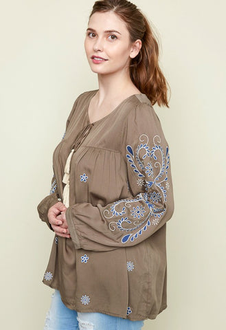 {Plus} Olive Embroidered Peasant Blouse