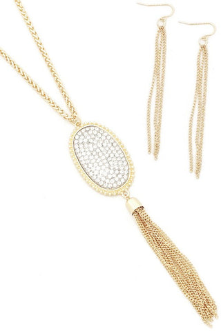 Gold/ Clear Oval Pave Necklace Set