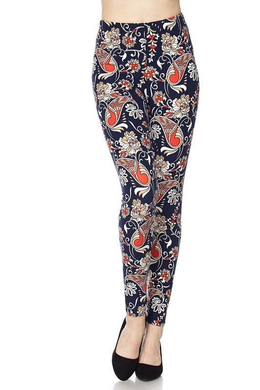 Dark Navy & Rust paisley leggings