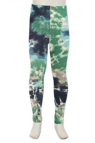 {Kids} Blue & Green Tie-Dye Leggings