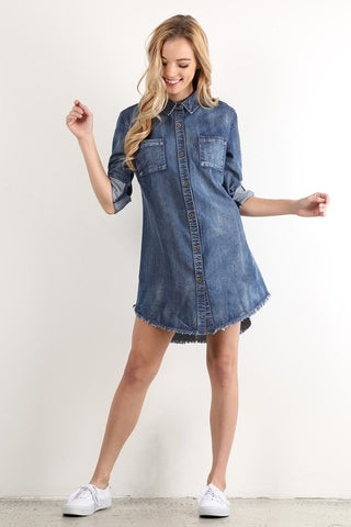 Fringed Denim Tunic