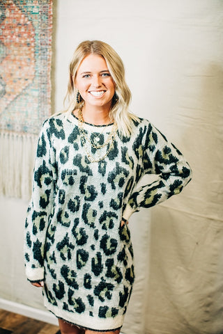 Snow Leopard Sweater Dress