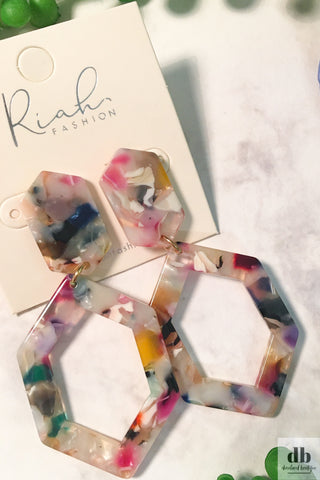 MultiColor Hexagon Earrings